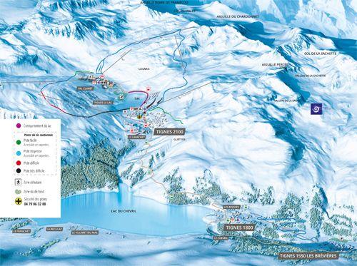 Mapa de esquí tignes
